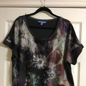 Gray and floral short sleeve top
